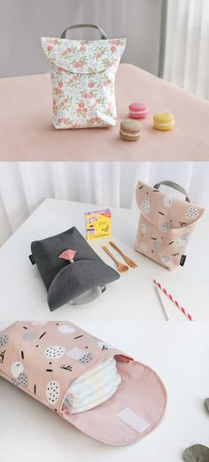 Tote Bag got you covered! The Velcro closure also makes it very easy to access your items. This bag is very functional, but is also super cute! Cute Diaper Bags, Cute Tote Bags, Baby Sewing Projects, Sewing For Kids, Diy Sac, Diy Bebe, Baby Baskets, Baby Couture, Baby Kind
