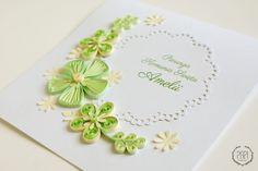 kartka na komunie swieta quilingowe kwiaty papierowa koronka