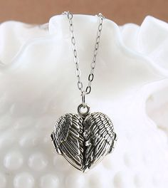 Angel Wings Heart Locket Necklace in Sterling Silver