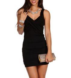 Sale-black V Neck Bodycon Short Dress