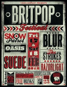 gig-poster-flyer-template-britpop - blur - snow patrol - suede -(the strokes? Type Posters, Rock Posters, Band Posters, Music Posters, Event Posters, Film Posters, Gig Poster, Poster Prints, Festival Posters