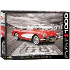 "1959 Corvette ""Driving Down Route 66"" Jigsaw Puzzle - PZ-008P-classic Corvette, Classic Car Memorabilia, Corvette Memorabilia."