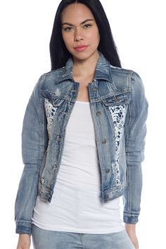Wardrobe Ready Lace Panel Cropped Denim Jacket - Light Blue from Rue 21 at Lucky 21