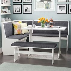 3 pc Gray White Top Breakfast Nook Dining Set Corner Booth Bench Kitchen Table - Dining Table - Ideas of Dining Table Dining Room Sets, Pub Table Sets, Corner Bench Kitchen Table, Kitchen Dining, Corner Dining Nook, Booth Dining Table, Kitchen Banquette Ideas, Kitchen Booth Seating, Kitchen Nook Set