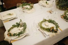 flower crown plate setting- Love how the women get the crown and the mens place setting get a sprig to tuck into their suit pocket like a boutonniere. Lovely for a bohemian, gypsy garden party