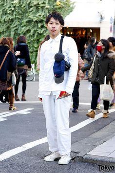 All White Fashion w/ Comme des Garcons & Supreme in Harajuku Japan Style, Japan Fashion, All White, White Fashion, Baseball Cap, Fashion Backpack, Harajuku, Overalls, Pouch