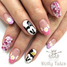 {87818082-C84C-42B7-97BE-5AB68F181853:01} Sunflower Nail Art, Kawaii Nails, Round Nails, Japanese Nails, Hello Kitty, Disney Nails, Mickey And Friends, Perfect Nails, Black Nails