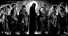 """Christ of the Breadlines ... a classic ... by Fritz Eichenberg (1901-1990) whose last name meant """"oak mountain,"""" appropriate that he became a master of wood engraving ... a man of faith who described art as the """"outward sign of inward grace"""" ...  a German Jewish convert to Quakerism ... a kindred spirit of Dorothy Day, contributing illustrations for her publication """"The Catholic Worker"""" Latina, Worship Images, Worship Ideas, Catholic Social Teaching, Trinity House, Dorothy Day, St John The Evangelist, Spiritual Images, Christian Devotions"""