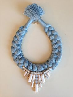 Sky Blue Pastel Statement Bib Hand made by stukaLOVAjewelry, $40.00