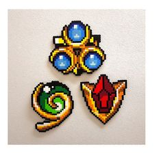 Zelda Spiritual Stones Goron Ruby Kokiri Emerald Zora Sapphire Ocarina of Time LoZ Legend of Zelda Link Princess Zelda Nintendo Perler Beads, Perler Bead Art, Fuse Beads, Perler Bead Designs, Pixel Art, Hama Beads Patterns, Beading Patterns, Peyote Patterns, Bracelet Patterns