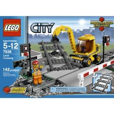 Lego City Level Crossing 7936 (673419130219) Enhance your child's LEGO City train track with this level crossing building set. Lower the crossing gates when a train comes by, then raise them again to let traffic flow. The excavator rotates 360 degrees and has hook and shovel attachments for track and road repairs.