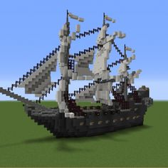 Pirate Ship (The Black Pearl) - GrabCraft - Your number one source for MineCraft. - Pirate Ship (The Black Pearl) – GrabCraft – Your number one source for MineCraft buildings, blu - Minecraft Statues, Minecraft Castle, Cute Minecraft Houses, Minecraft Room, Amazing Minecraft, Minecraft Crafts, Minecraft Designs, Minecraft Buildings, Minecraft Clipart