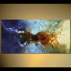 Original abstract art paintings by Osnat - large blue abstract home painting