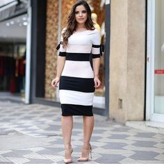 Tight Dresses, Sexy Dresses, Casual Dresses, Girls Dresses, Dresses For Work, Vestidos Fashion, Fashion Dresses, Sunday Dress, Sophisticated Outfits