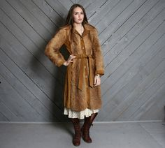 vintage 60s belted fur and suede leather trench coat #boho