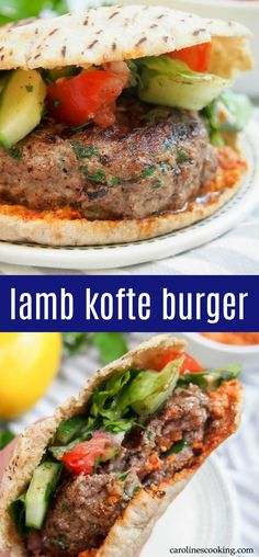 This lamb kofte burger is the perfect burger for when you want something that bit different. Not only are the flavors delicious, but you can cheat a little with ready-made components, or make it more from scratch as time allows.#lambburger #middleeasternfood #kofte #pita #burgermonth