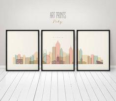 Atlanta art print, Atlanta poster, Atlanta large wall art, Atlanta 3 pieces skyline art, travel decor, home decor, ArtPrintsVicky