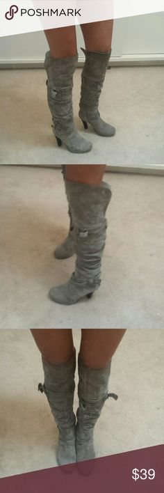 TWO LIPS GRAU SUEDE BUCKLE KNEE HIGH BOOTS 6.5 Gently used. Do show wear. Two lips Shoes Over the Knee Boots