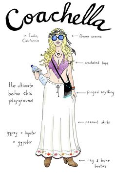 7 Types Of Music-Festival Folks...As Illustrations #refinery29  http://www.refinery29.com/music-festival-types#slide-3  Coachella — The most commercial of the bunch, Coachella is part music festival, part party hopping, and part street-style scene.