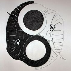 My original idea of Ying Yang with elephants! :) Share and like! - SSS Art
