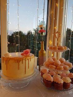 Decadent Chocolate Cake with White Chocolate Gold Drip, Carrot Walnut Muffins & Custard Cream Macarons
