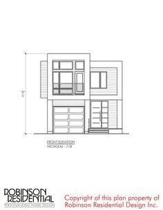 Contemporary Nicholas-718 Narrow Lot House Plans, My House Plans, House Floor Plans, Minimalist House Design, Small House Design, Modern House Design, Plans Architecture, Residential Architecture, Architecture Design