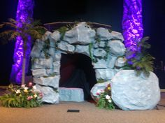 Jesus' empty tomb made out of paper mâché for kids musical.
