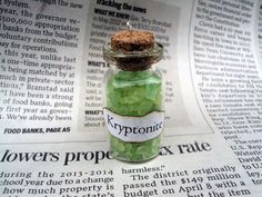 Kryptonite Glass Bottle Necklace by capriariescollection on Etsy, $8.99