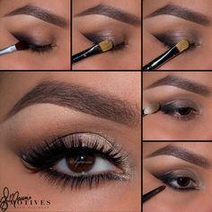 eye makeup with black dress makeup jewels makeup zara makeup tools makeup video step by step in hindi to eye makeup makeup looks will remove eye makeup Perfect Makeup, Cute Makeup, Simple Makeup, Makeup Looks, Glitter Eye Makeup, Fall Makeup, Eyeshadow Makeup, Eye Makeup Steps, Makeup Tips
