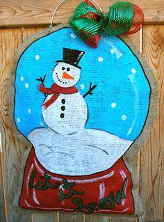 Snow Globe Burlap Door Hanger by stackhouseLA on Etsy, $30.00