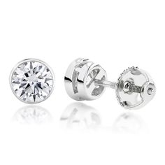 Luxurman 18k Gold 2ct TDW Solitaire Round Diamond Bezel Stud Earrings (H-I, SI1-SI2) (18k