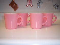 Vintage Hazel Atlas pink coffee cups mugs set of four