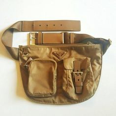 Prada Fanny Waist Pack Tessuto Leather Tan Brown Travel Bag. Save 59% on the Prada Fanny Waist Pack Tessuto Leather Tan Brown Travel Bag! This travel bag is a top 10 member favorite on Tradesy. See how much you can save