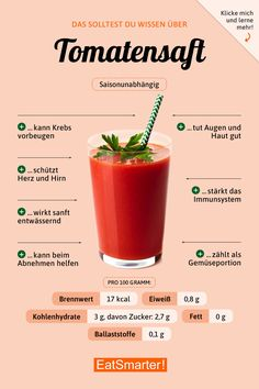 Je moet weten over tomatensap You need to know about tomato juice eatsmarter. Nutrition Tips, Health And Nutrition, Proper Nutrition, Holistic Nutrition, Health Tips, Complete Nutrition, Nutrition Plans, Salud Natural, Tomato Juice