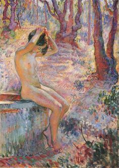 Young Girl by Fountain, Henri Lebasque was a French post-impressionist painter. From his first acquaintance with Georges Seurat and Paul Signac, Lebasque learnt the significance of a colour theory which stressed the use of complementary colours in shading.