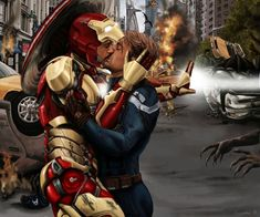 """'Kiss' by Gassada, 2014 """" Tony sometimes wonders how the things they fight get weirder every time the Avengers assemble. Overall, the winged monsters of the week do not even rank top five. They are easy enough to kill while he flies through them and. Stony Avengers, Superfamily Avengers, Stony Superfamily, Avengers Art, Spideypool, Steve Rogers, Xmen, Johnlock, Destiel"""