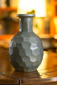 Very interesting hand made faceted vase with celadon glaze. Double signed on…