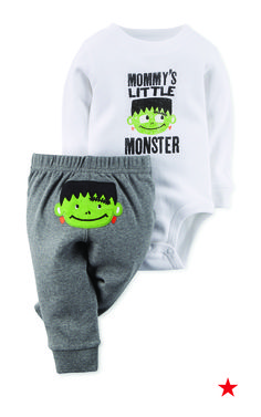 Mommy's little monster now has the perfect Halloween look. Dress your mischievous guy in this adorable bodysuit and pants suit from Carter's on the big day.