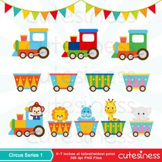 Circus Digital Clipart Circus Animal Clipart Animal by Cutesiness Circus Train, Circus Theme, Diy Birthday Banner, Birthday Board, Train Clipart, Train Art, Vintage Carnival, Baby Decor, Preschool Crafts