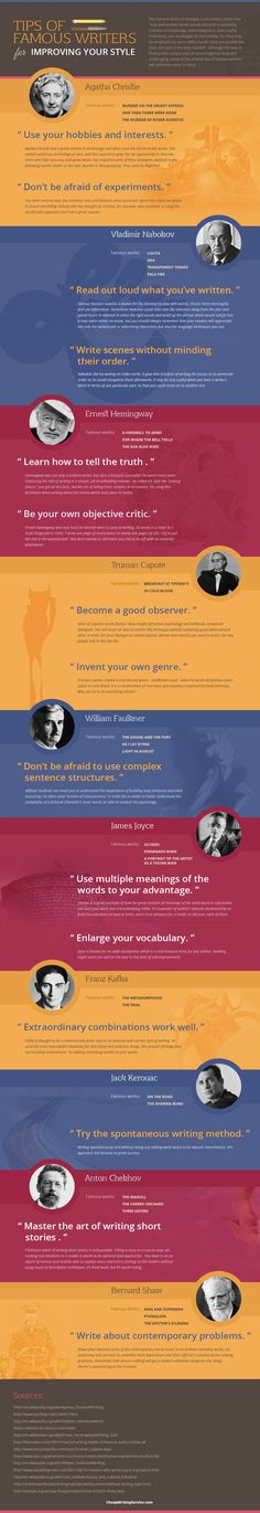 Tips of Famous Writers for Improving Your Style #infographic #Writing #Education #infografía