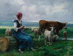 SHEPHERDESS WITH GOAT, SHEEP AND COW, BY JULIEN DUPRE