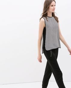 Imagem 3 de TOP ESTAMPADO A CONTRASTAR da Zara