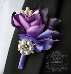 Wedding Boutonniere Grooms Boutonniere by RoyalWeddingDecore Boutonnieres, Lavender Boutonniere, Corsage And Boutonniere, Groom Boutonniere, Feather Boutonniere, Corsage Wedding, Wedding Bouquets, Wedding Flowers, Bridesmaid Bouquet