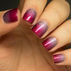 Beautiful cherry red sponged over what I think is a holographic lilac colour - Really pretty! The Most Creative Nails Art You've Ever Seen by Yem