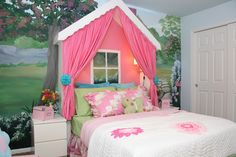 Design Dazzle: Little Cottage Girls Room... love the mural and how adorable is the cute little window