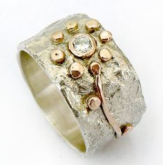 Handmade fabulous sterling and 9k yellow gold flower ring set with cz. with texture that looks like crumpled tinfoil-for christmas- ilanamir on Etsy, $150.00