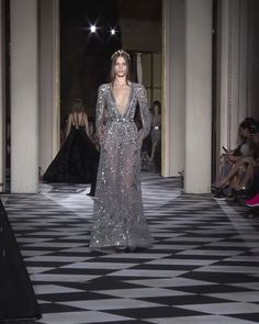 Zuhair Murad Look 24 Beautiful Embroidered Backless Grey Sheath Evening Maxi Dress / Evening Gown with Deep V-Neck Cut, Long Sleeves and Open Back. Couture Fall Winter Collection Runway by Zuhair Murad Haute Couture Dresses, Couture Fashion, Runway Fashion, Zuhair Murad, Dress Outfits, Fashion Dresses, Maxi Dresses, Abed Mahfouz, Chanel Cruise