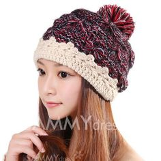 $7.26 Cute Little Ball Embellished Fringed Knitted Bomber Hat For Women