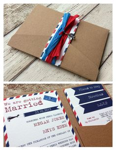 Rustic Travel Destination Airmail Pocketfold Wallet Wedding Invitation Sample for sale online Diy Wedding Day, Wedding 2015, Rustic Wedding, Wedding Ideas, Travel Themes, Travel Destinations, Megan Jones, Wedding Invitation Samples, Invitation Ideas