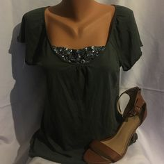 Sparkle Shirt Dark green shirt with blue sparkles. Short sleeves. 60% cotton 40% modal. Old Navy Tops